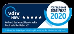 Fortbildungszertifikat Verband der nordrhein-westfälischen Immobilienverwalter e.V.